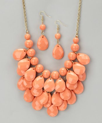 Coral Waterdrop Necklace & Earrings