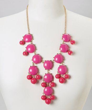 Hot Pink Bubble Bib Necklace
