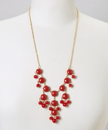 Red Mini Bubble Bib Necklace