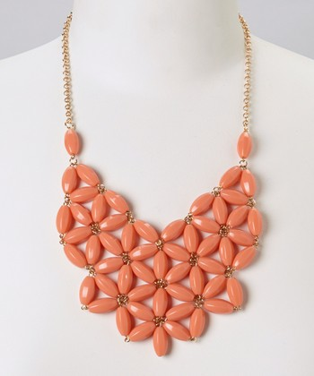 Coral Daisy Bib Necklace
