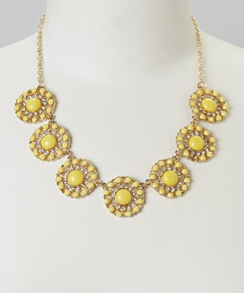 Yellow Seven Sunflower Statement Necklace