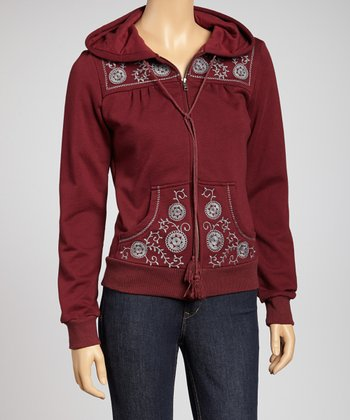 Plum Embroidered Zip-Up Hoodie