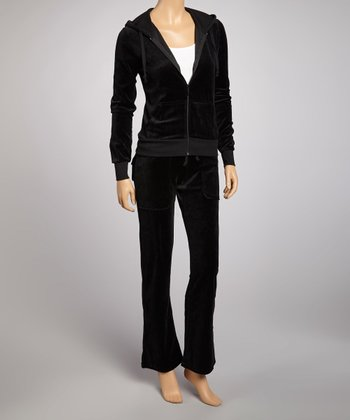 Black Velour Track Jacket & Pants