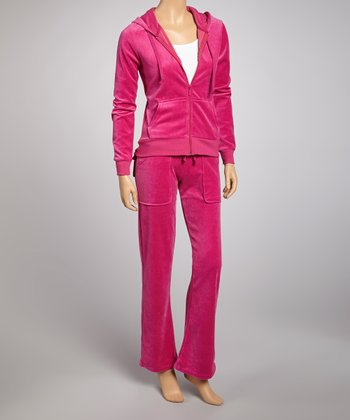 Fuchsia Velour Track Jacket & Pants