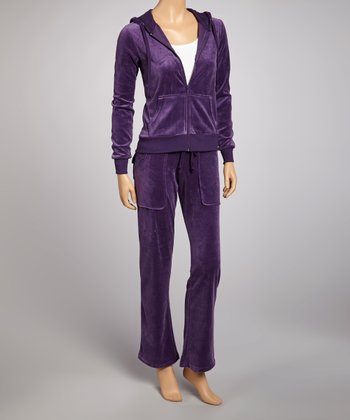 Purple Velour Track Jacket & Pants
