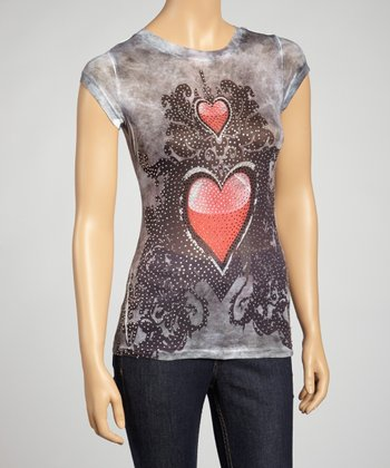 Gray Heart Sublimation Top