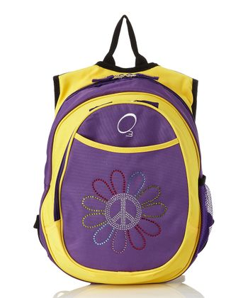 Purple & Yellow Peace Flower All-in-One Backpack