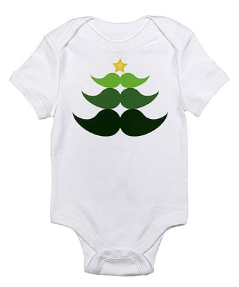 Cloud White Mustache Christmas Tree Bodysuit - Infant