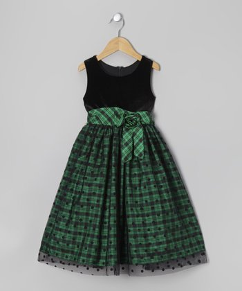 Green & Black Plaid Polka Dot Dress - Girls