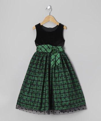 Green & Black Plaid Polka Dot Dress - Girls