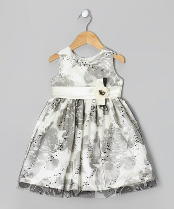 Cream & Black Rose Dress - Toddler & Girls