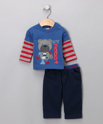 Blue 'My Robot' Bear Layered Tee & Pants