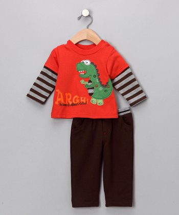 Red Clay 'Argh!' Dino Layered Tee & Pants - Infant