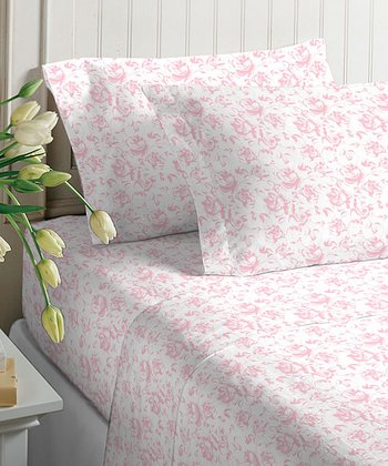 Floral Pure Pink Microfiber Sheet Set