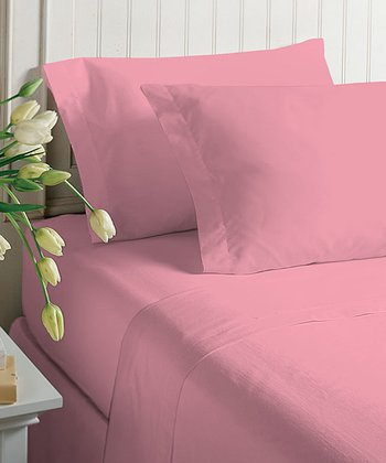 Pink Pure Pink Microfiber Sheet Set