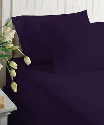 Purple Pennant Satin Sheet Set