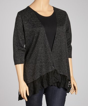 Gray & Black Lace Trim Cardigan - Plus
