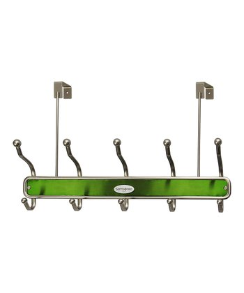 Satin Nickel & Light Green 10-Hook Door Hanger