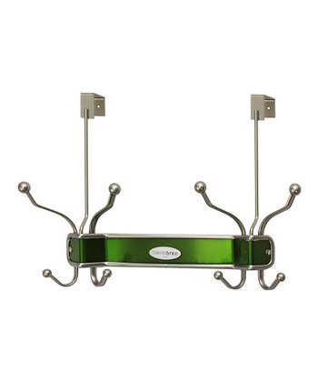 Satin Nickel & Light Green Eight-Hook Door Hanger