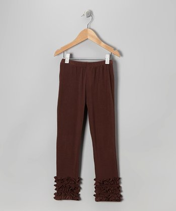 Chocolate Ruffle Capri Leggings - Toddler & Girls