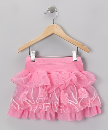 Pink Floral Tulle Tiered Skirt - Infant