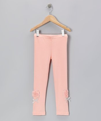 Peach Rhinestone Rose Leggings - Infant, Toddler & Girls