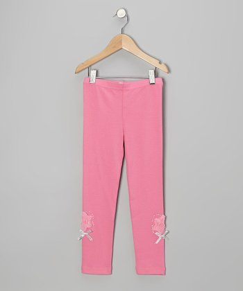 Pink Rhinestone Rose Leggings - Infant, Toddler & Girls