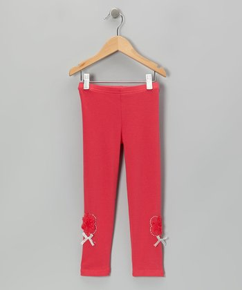 Red Rhinestone Rose Leggings - Infant, Toddler & Girls