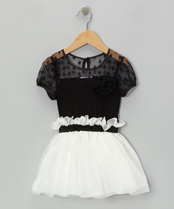Black & White Polka Dot Ruffle Dress - Toddler & Girls