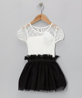 White & Black Polka Dot Ruffle Dress - Toddler & Girls