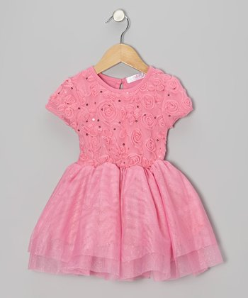 Pink Sequin Rosette Cap-Sleeve Dress - Toddler & Girls