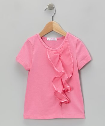 Pink Ruffle Cascade Top - Toddler & Girls