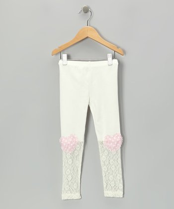 White Heart Patch Lace Leggings - Infant