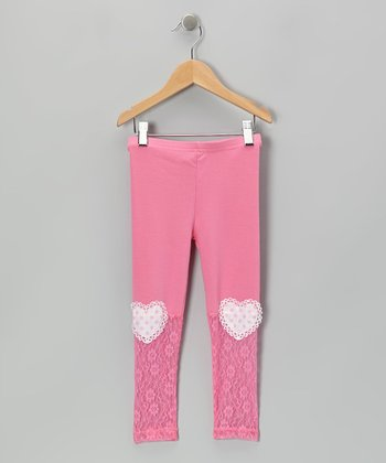Pink Heart Patch Lace Leggings - Infant, Toddler & Girls