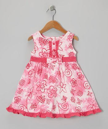 Pink & White Floral A-Line Dress - Infant, Toddler & Girls