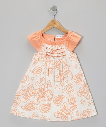 Coral Butterfly Angel-Sleeve Dress - Toddler & Girls