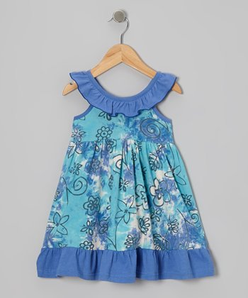 Blue Floral Ruffle Yoke Dress - Infant, Toddler & Girls