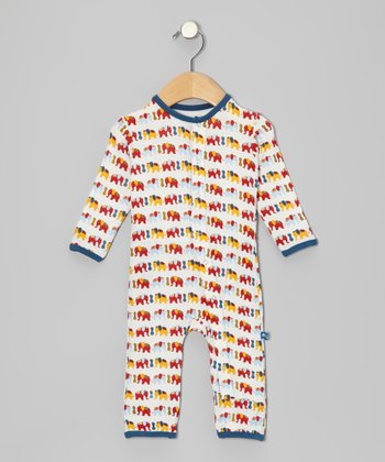 KicKee Pants Light Blue & Red Elephant Playsuit - Infant & Toddler