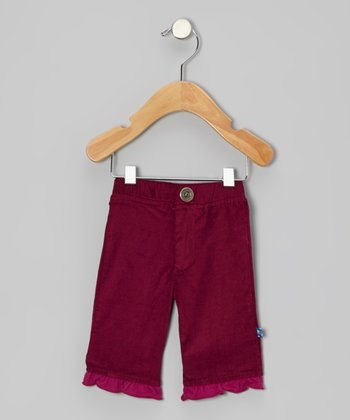Orchid Corduroy Distressed Ruffle Pants - Infant, Toddler & Girls