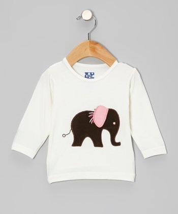 White & Brown Elephant Long-Sleeve Tee - Infant, Toddler & Girls