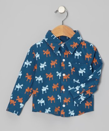 Twilight Moose Long-Sleeve Button-Up - Infant, Toddler & Boys