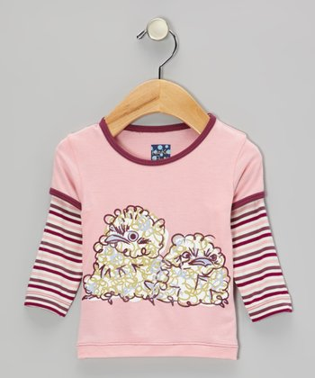 Lotus Stripe Fluffy Owl Layered Long-Sleeve Tee - Infant, Toddler & Girls