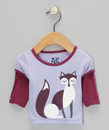 Lilac Fox Layered Long-Sleeve Tee - Infant