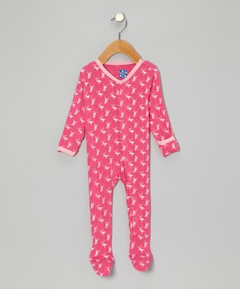 Candy Pink Monkey Footie - Infant
