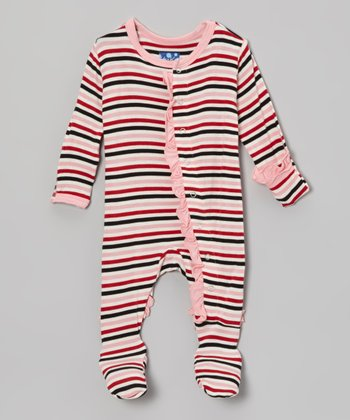 Dark Pink Winter Stripe Ruffle Footie - Infant