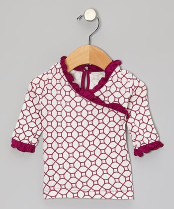 Orchid Lattice Long-Sleeve Surplice Tunic - Infant, Toddler & Girls