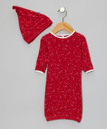 Crimson Starry Sky Gown & Single-Knot Beanie - Infant