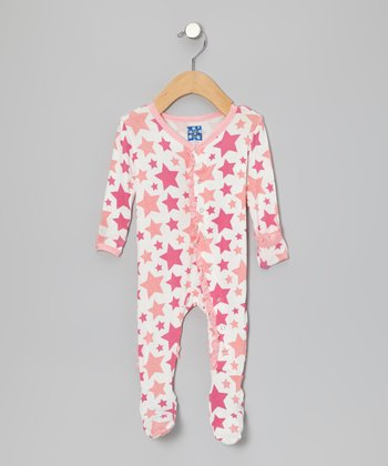 Pink Star Ruffle Footie - Infant