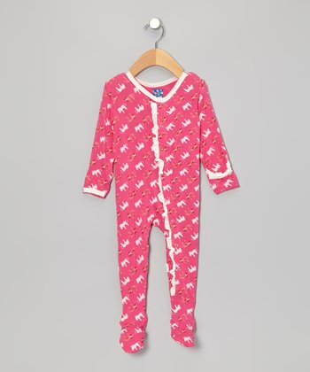 KicKee Pants Candy Pink Zebra Ruffle Footie - Infant