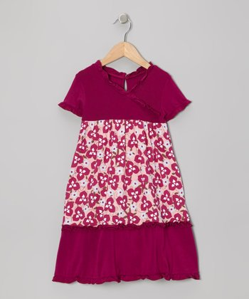 Orchid Floral Ruffle Tiered Surplice Dress - Toddler